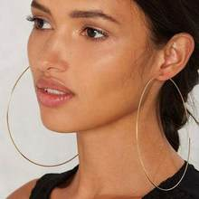 New Hoop Earrings Fashion Women Big Circle Charm Statement Hoop Earrings Evening Party Jewelry(China)