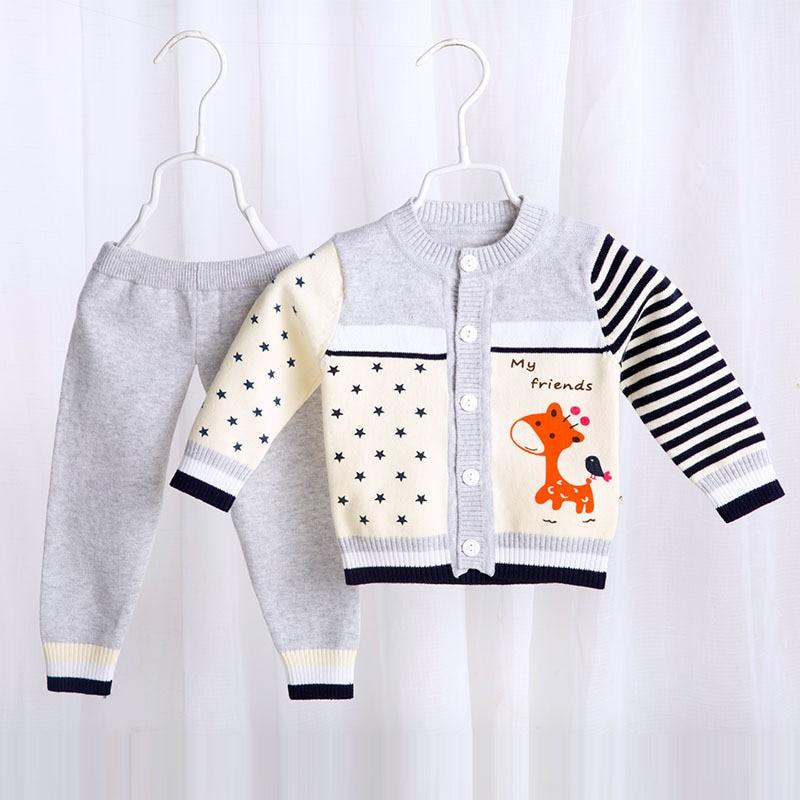 Children Sweater Baby Boys girls Wool Clothing Set Warm Sport Suit Set Kids 2017 Spring Autumn
