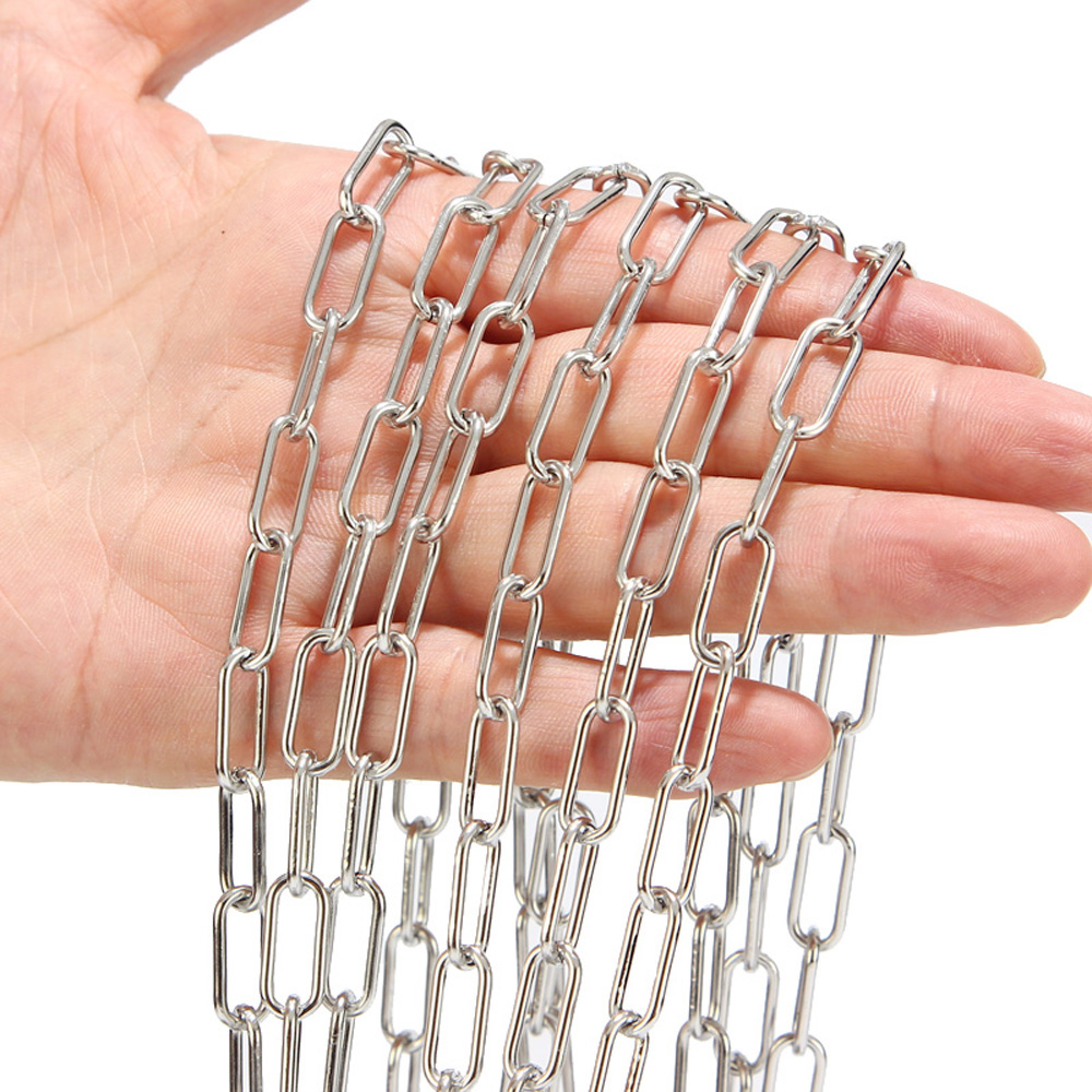 7mm Width Stainless Steel Rolo Cable Chains Findings Fit For Jewelry Making DIY