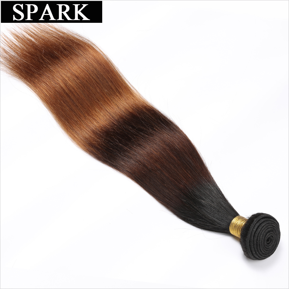 Spark 1B/4/30 Ombre Brazilian Straight Hair 1/3/4PCS Remy Hair Weave Bundles 100% Human Hair Extensions 3 Color Hair Weaving