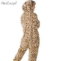 Leopard Pajama Women Adult Animal Bear Cosplay Costume Leopard Print Onesie Flannel Warm Sleepsuit Lovely