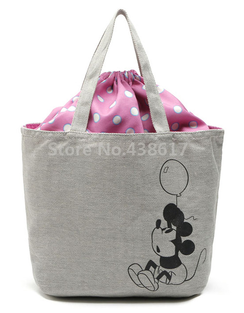 Cute Mickey Retro Canvas Drawstring Handbag