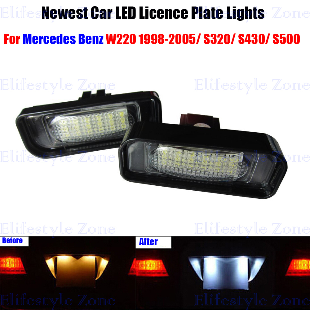 2 x LED Number License Plate Lamps OBC Error Free 18 LED For Mercedes Benz W220 S Class 1998-2005 10pcs error free led lamp interior light kit for mercedes for mercedes benz m class w163 ml320 ml350 ml430 ml500 ml55 amg 98 05