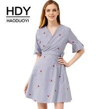 HDY Haoduoyi V Neck Short Falbala Short Sleeve Striped Embroidery Mini Dress 2019 New Arrival Brief Sweet Tie Waist Dress self tie waist random striped dress