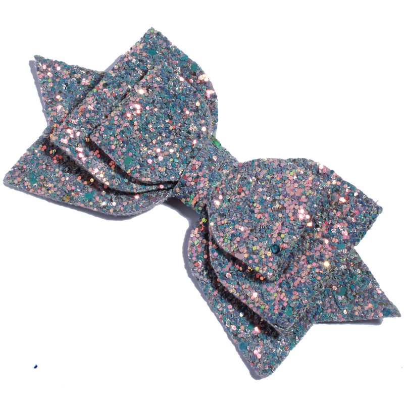 Image 5 - 120PCS 13CM 5 Big High Quality Boutique Glitter Synthetic  Leather Hair Bows For Hairpins Glitter Bowknot Bow For Girl WomenHair  Accessories