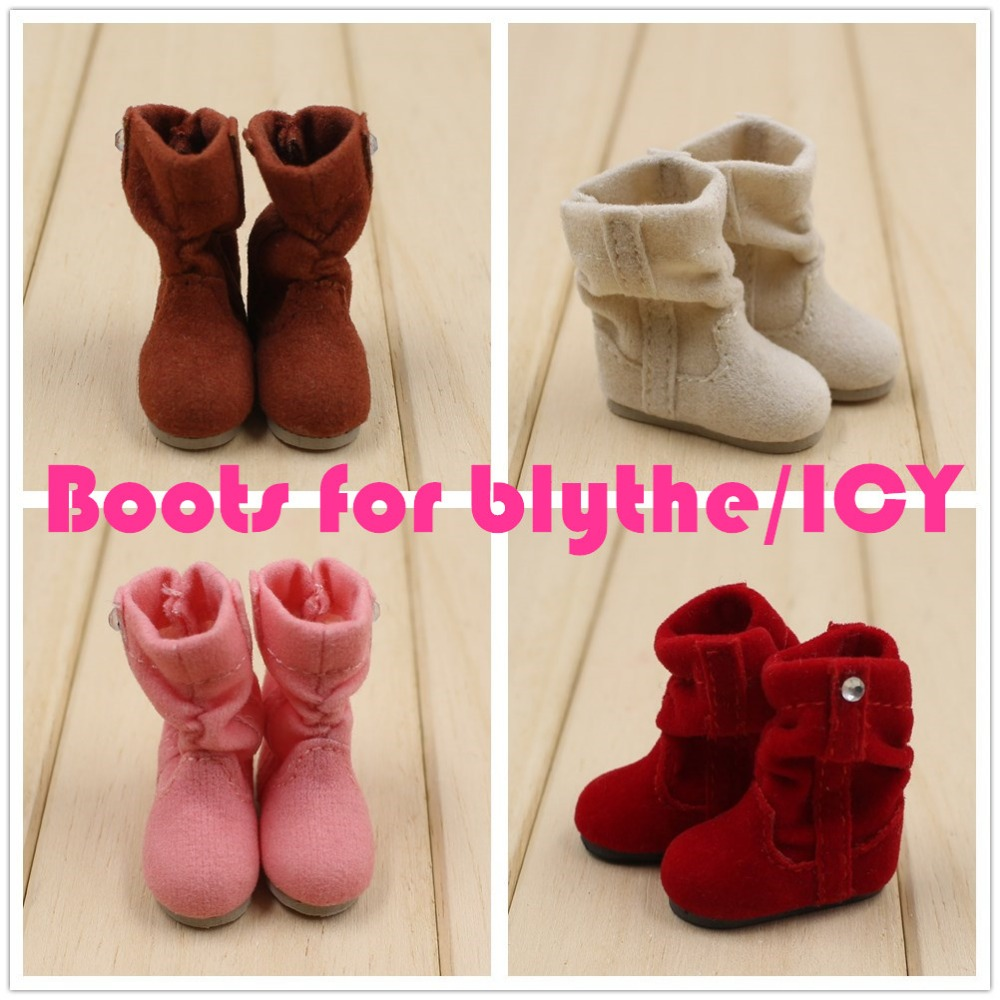 Free shipping for blyth doll icy winter boots brown white pink red shoes lady cute 1/6 цена