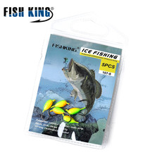 FISH KING 5pcs/pack 1g 1.5g 1.8g jig head hook soft bait hooks small ice fishing hook for lure grub worm lure hook fishinghooks