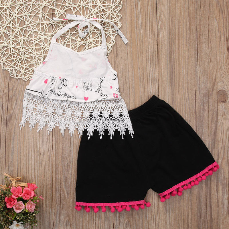 Summer Newborn Infant Baby Girl Clothes Sleeveless Print Cute Halter Tassels Cotton T-shirt+Short Pants Outfits 2Pcs Set Clothes newborn baby kids boys tops cool letter printing i do what i want sleeveless t shirt vest short pants 2pcs outfits set clothes