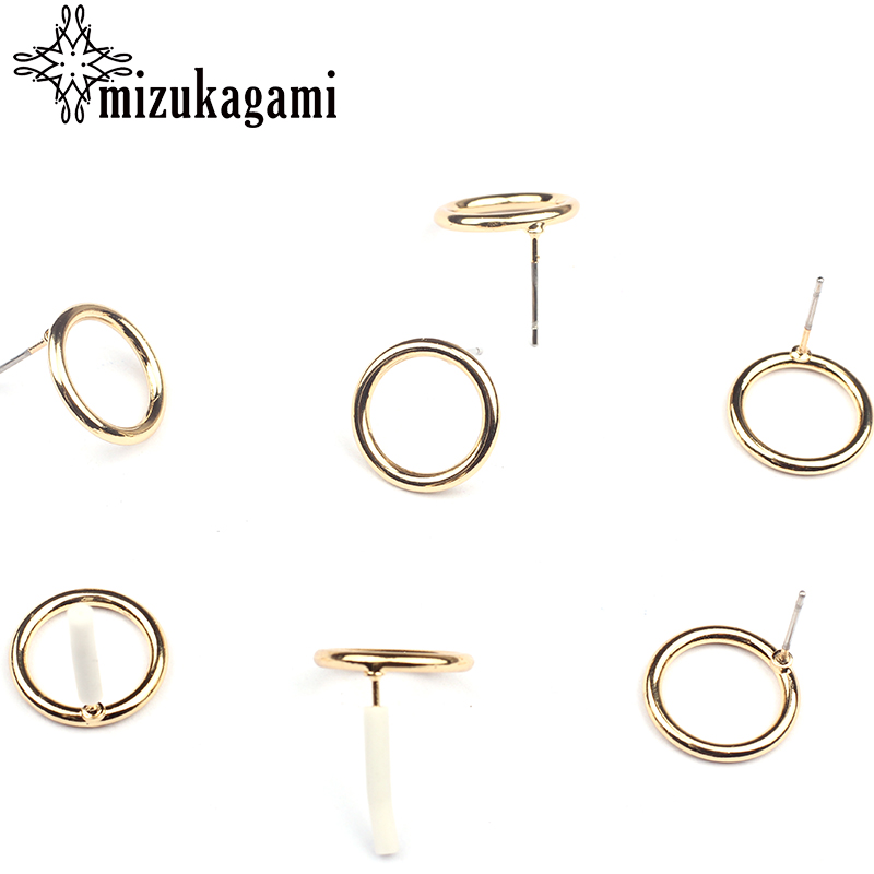 14mm 10pcs/lot Zinc Alloy Stud Earrings Gold Hollow Round Circle Base Earring Connector For DIY Earrings Jewelry Accessories
