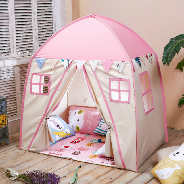 Children Tent 2 Doors Playhouse Folding Teepees Toddler Tent Cotton Canvas Play House for Baby Tipi & Children Tent 2 Doors Playhouse Folding Teepees Toddler Tent Cotton ...