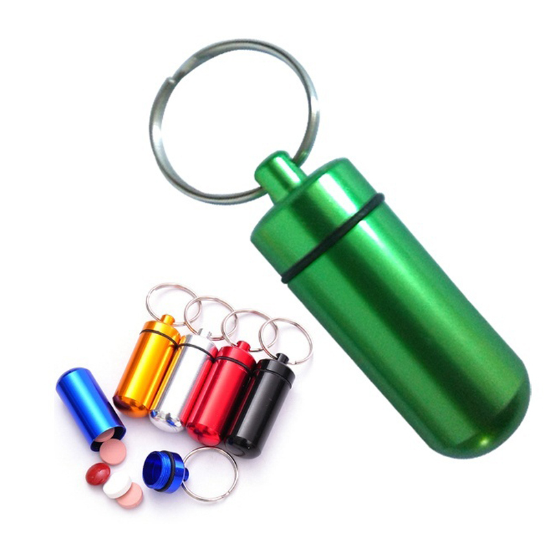 1Pc Waterproof Aluminum Pill Box Medicine Case containerBottle Holder Keychain Carabiner Outdoor pill case pillbox Portable Z35