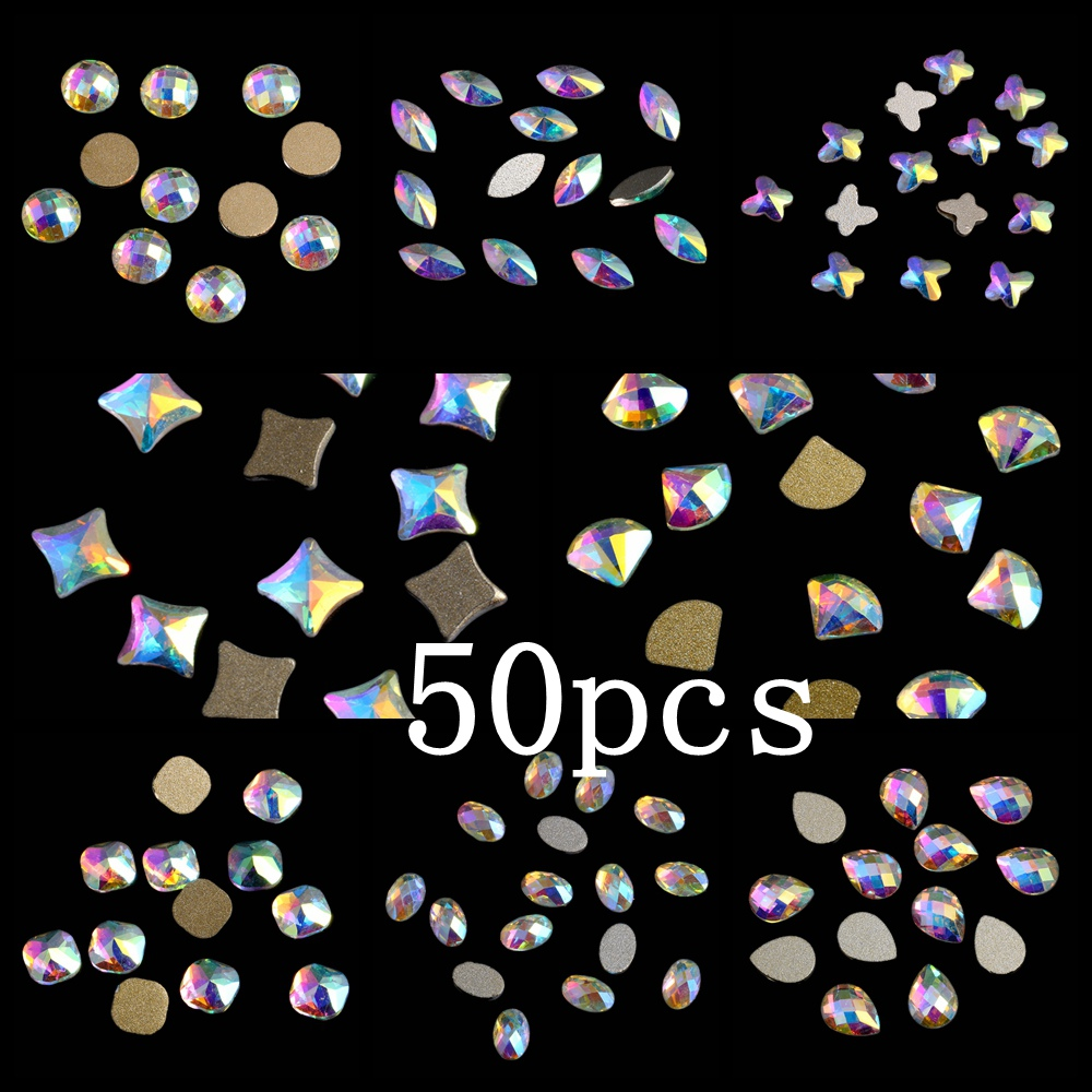 Crystal AB Nail Rhinestones 50pcs Glass Rhinestone For Nail Art Decorations Flatback Nail Stickers DIY Craft Art Charm Stones ss3 ss30 jet black ab nail art rhinestones with round flatback for nails art cell phone and wedding decorations