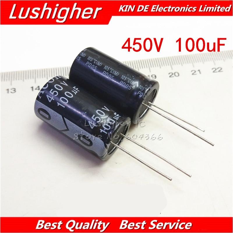 5PCS 450V100UF 18*30mm 100UF 450V Aluminum Electrolytic Capacitor