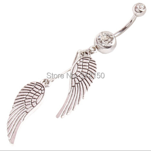 Bijuterie cu unghi dublu cu aripi Piercing Ombilic Inel cu buton din buric Percing Piercing Belly Ring Ouro Bijoux Pirsing Nombril de vânzare