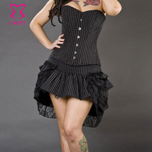 163e22a024128 Black Pinstriped Cotton Overbust Corset Burlesque Costumes For Women  Steampunk Korsett Sexy Corsets And Bustiers Gothic Clothing