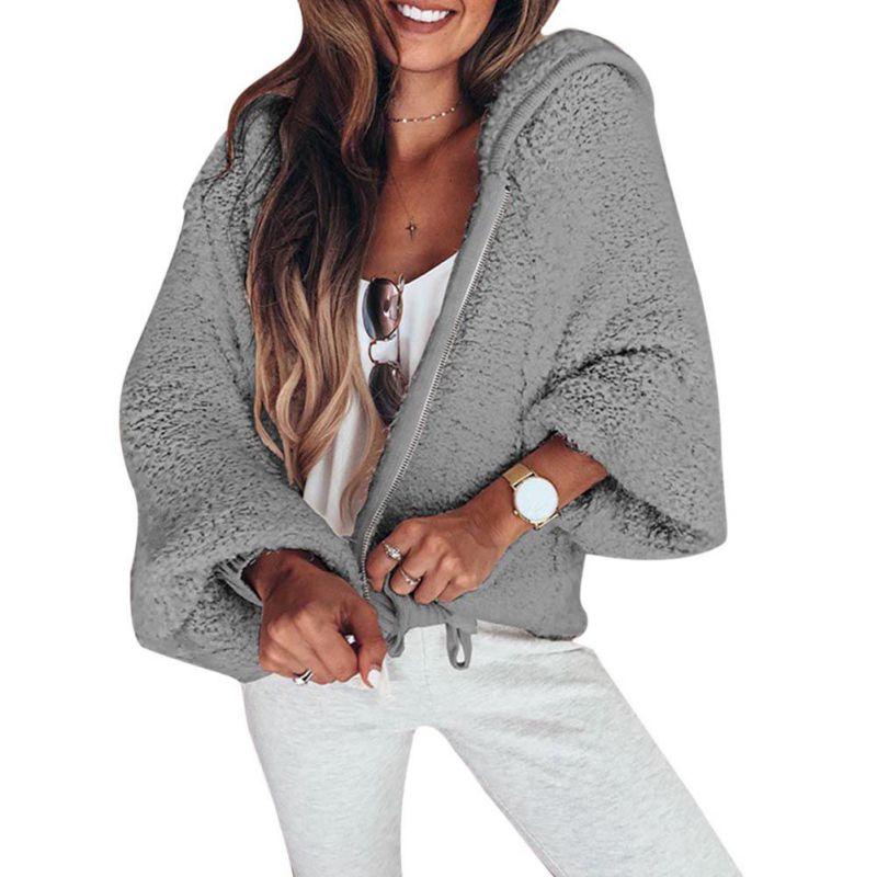 New Elegant Coat Women 2018 Autumn Winter Warm Soft Zipper Jacket Female Puff Sleeve Plush Overcoat Casual Outerwear Female