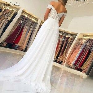 Image 2 - Weilinsha New Cheap Wedding Dress Off the shoulder Lace Wedding Dresses Vestido de Noiva Zipper back with Buttons