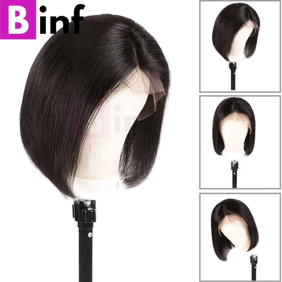 Pelucas de cabello humano de encaje corto BINF pelucas de pelo brasileño Remy Bob Peluca de pelo Pre-desplumado con pelo de bebé pelucas para mujeres negras