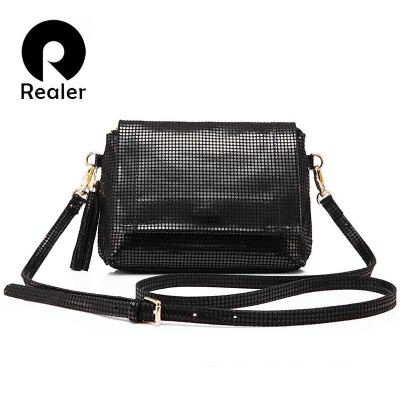 REALER genuine leather shoulder bag female with tassel women messenger bags high quality cow leather fashion Mini Shape bags 2017 fashion all match retro split leather women bag top grade small shoulder bags multilayer mini chain women messenger bags