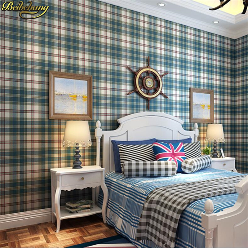 Beibehang Wall Paper Import Non-woven Wallpaper Plaid Fashion Classic Coffee Color Plaid Wallpaper Backdrop Bedroom
