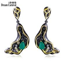 DC1989 Wholesale Free style Emerald Drop stone Black Gold Plated White AAA Cubic Zirconia Brass Drop earrings for women ZE52784