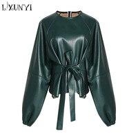 2019 New Fashion Green Pu Blouse Top Women Sashes Female Tunic Ladies Tops Black Solid Straight Tunics