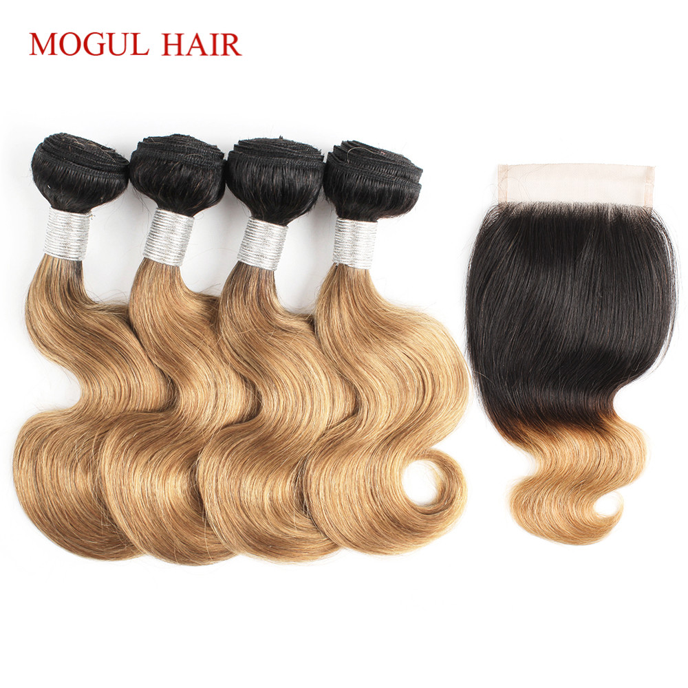 MOGUL HAIR 50g/pc 4 Bundle with Closure T 1B 27 Brazilian Body Wave Ombre Honey Blonde Bundles With Closure Non Remy Human Hair