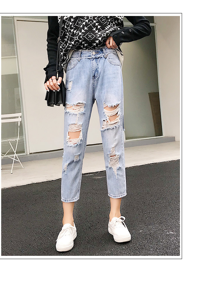 Blue Loose Vintage High Waist Ripped Jeans For Women 21