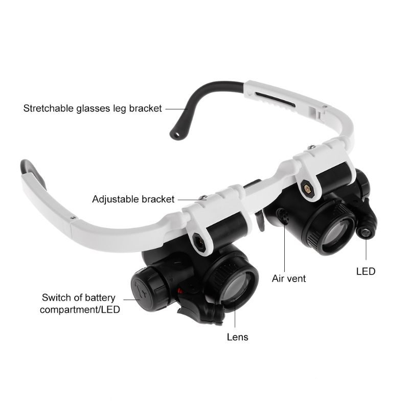 Design; In Led Head-mounted Watch Maintenance Magnifying Glasses Double Eyes Magnifying Glasses With Led Light As Close Reading Glasses Novel