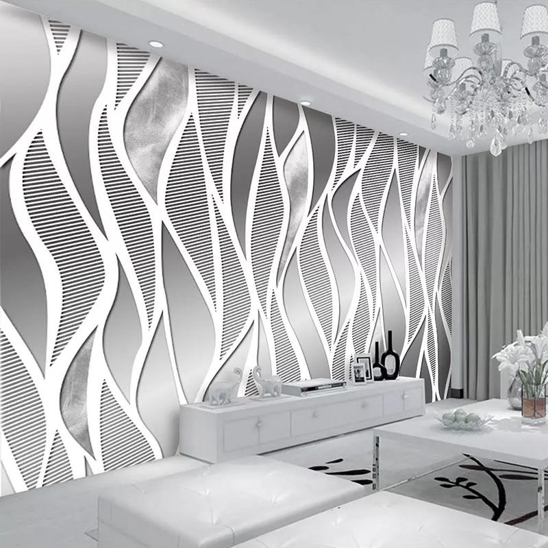 Modern 3D Metal Grey Stripe Mural Wallpaper High Quality ...