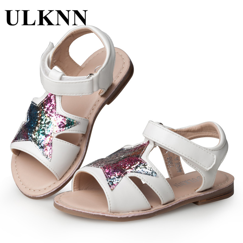 ULKNN Girls Sandals Children Shoes Glitter Star Candy Color White Open-toe Sandals For School Female Kids Flat Leather Shoes
