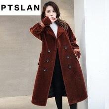Ptslan Women Sheep Fur Coat Fashion Women Wool Coat Long Sheep fur Beautiful Women s Coat