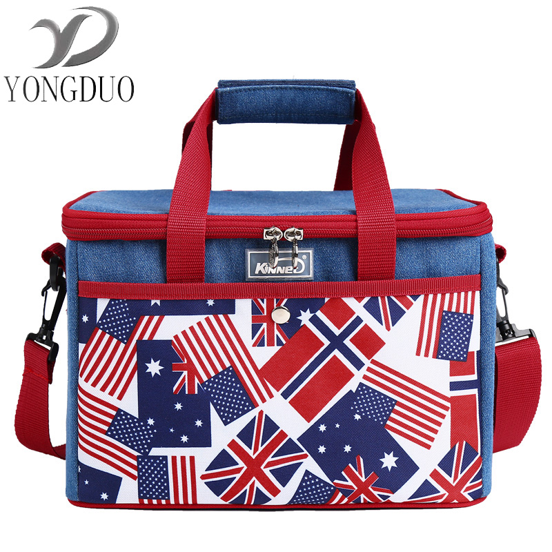 wxfbbaby Lunch Bags For Women Thicken Storage Portable Lunchbox Thermal Insulated Denim Cooler Bag Fresh Keep denim lunch bag kid bento box insulated pack picnic drink food thermal ice cooler leisure accessories supplies product
