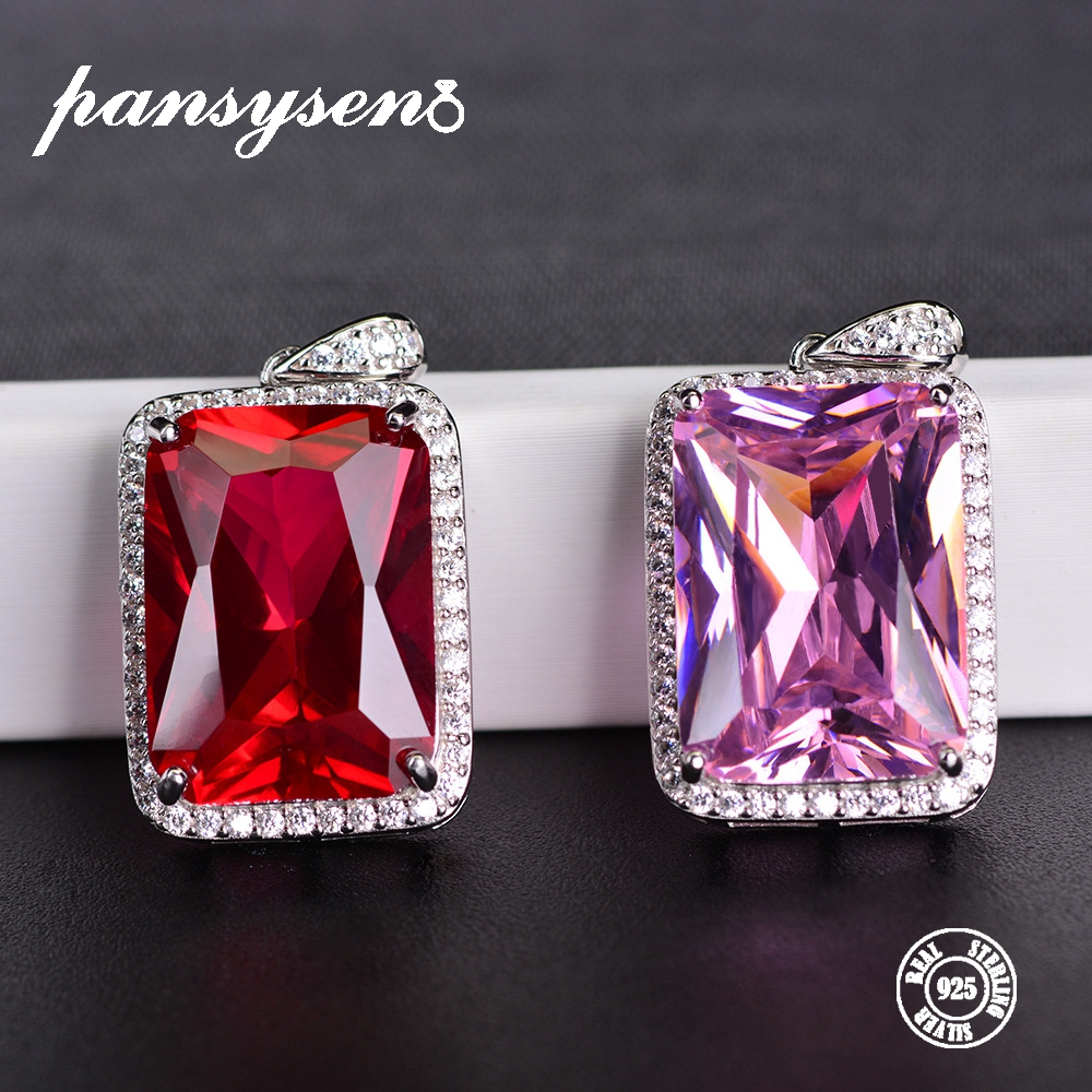 PANSYSEN 13*18MM Big Pink Red Gemstone Pendant For Women Top Quality 925 Silver Jewelry Ruby Pendants Necklaces Birthday GiftPANSYSEN 13*18MM Big Pink Red Gemstone Pendant For Women Top Quality 925 Silver Jewelry Ruby Pendants Necklaces Birthday Gift