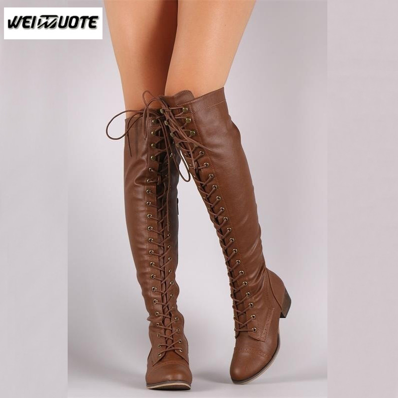 1ab31fdd53f7 WEINUOTE Women Autumn Winter Over The Knee High Boots Sexy Lace Up ...