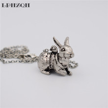LPHZQH  fashion vintage Female trendy 3D cute animal alloy Rabbit choker pendant necklace for Women Jewelry Christmas gift