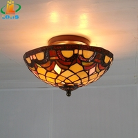 offer25CM European retro fashion study classical glass ceiling lighting Tiffany balcony bedroom lamps The entrance corridor lamp