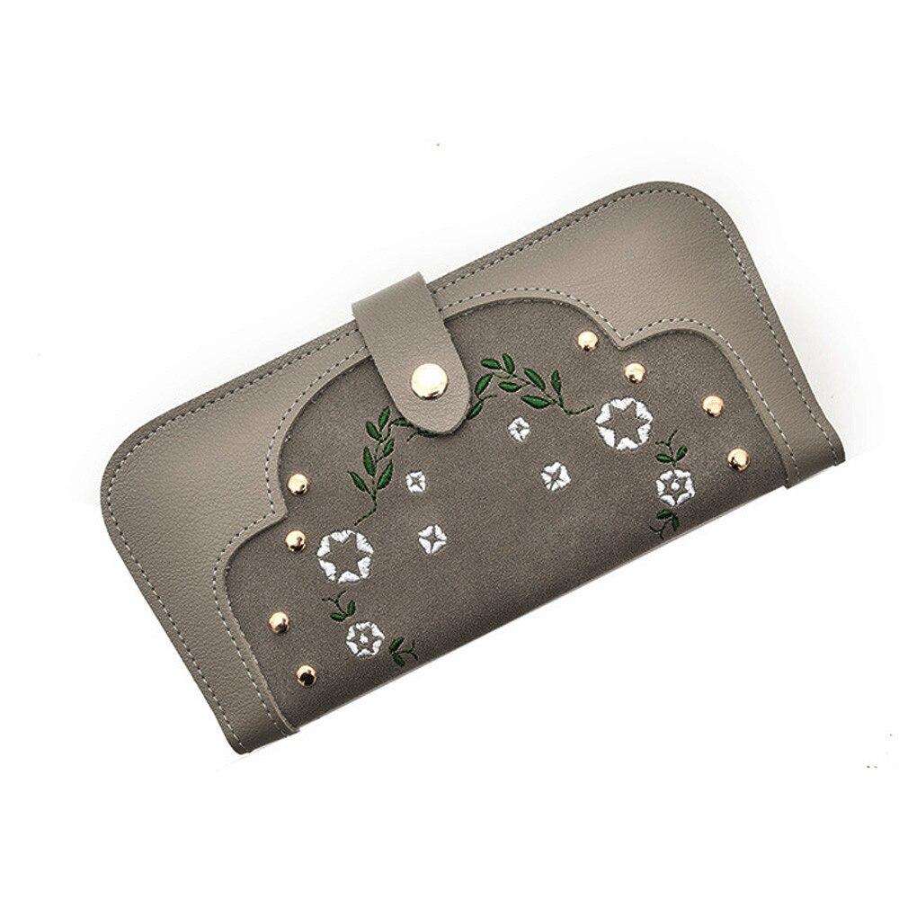 цена Women's Fashion Hasp Wallet Simple Flowers Embroidery Long Card Holder Leather Billfold Purse Bags pochette soiree Dropshipping онлайн в 2017 году