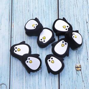 BOBO.BOX 3/5/10 шт./лот, силиконовые бусины для прорезывания зубов, детская силиконовая игрушка для прорезывания зубов, милый мультяшный Пингвин, с...