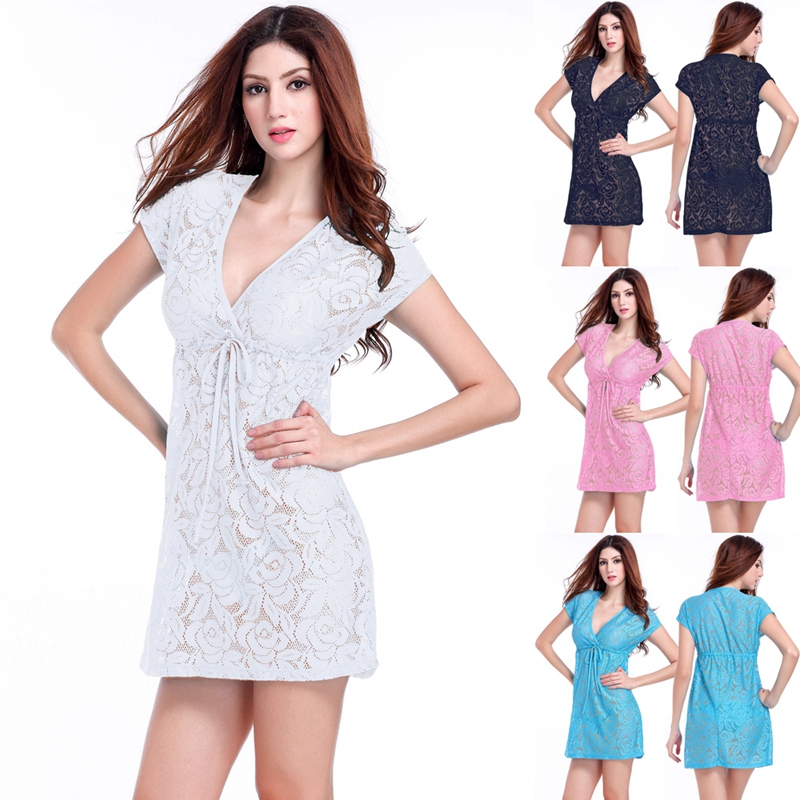 Hot Deep V Neck 2017 Adjustable Tie Casual Loose Big Lady Plus Size Sexy Lace Dresses S.M.L.XL.XXL
