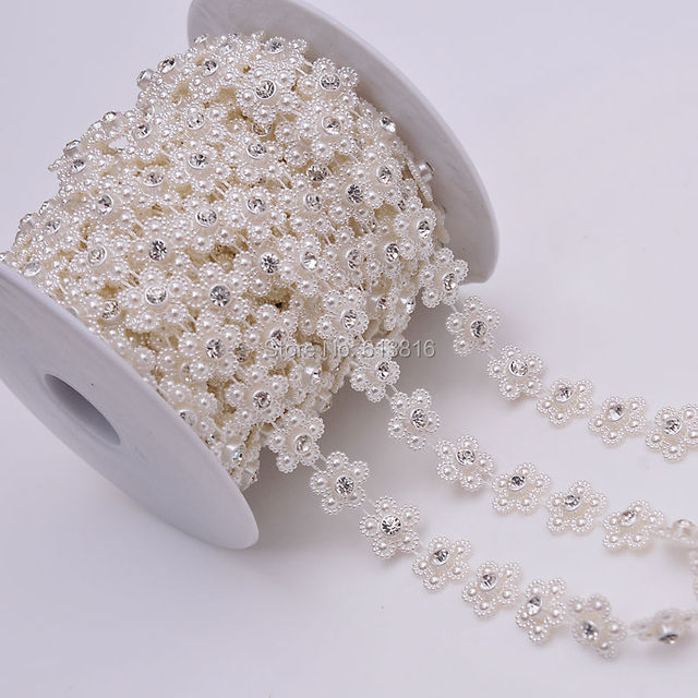 1yard 14mm Crystal Rhinestone Flower Pearl Cup Chain For Wedding