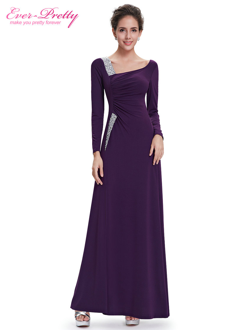 [Clearance Sale] Formal Evening Dresses Ever Pretty HE09736 Vintage Long Sleeve Rhinestones Sequins Slitted Evening Dress 2017