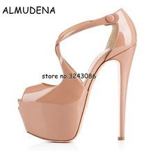 Top Quality Patent Leather Peep Toe Platform High Heels Sexy Slip on Party Dress Dance Shoes