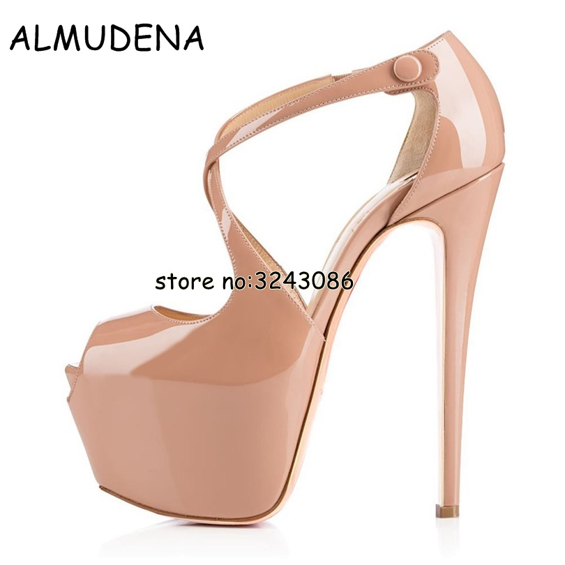 Top Quality Patent Leather Peep Toe Platform High Heels Sexy Slip on Party Dress Dance font