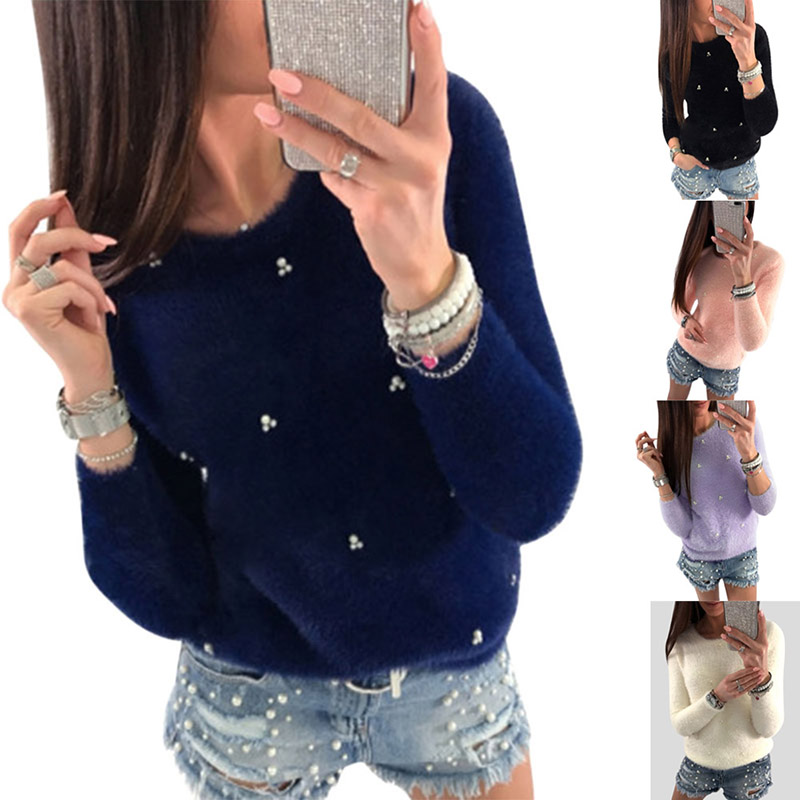 Autumn Winter Women Clothing Long Sleeve Shirt O Neck Pullover Fluffy Tops Lady Casual T-Shirts -MX8