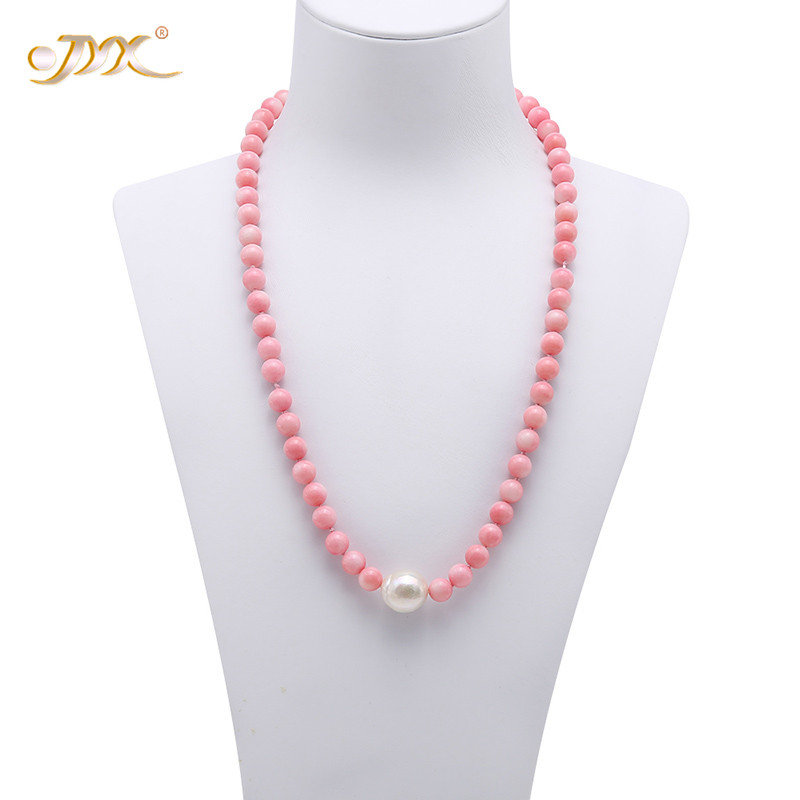 JYX 2019 New 7-7.5mm Round Pink Coral with natural Freshwater Baroque Pearl Pendnat Single-Strand Necklace 19 fine jewelryJYX 2019 New 7-7.5mm Round Pink Coral with natural Freshwater Baroque Pearl Pendnat Single-Strand Necklace 19 fine jewelry