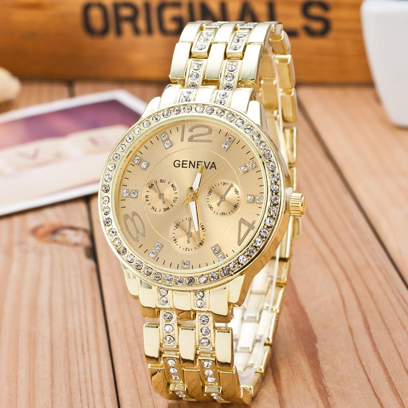 2017 new famous brand gold crystal geneva casual quartz watch women stainless steel dress for Crystal watches