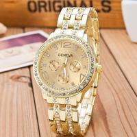 2019 neue Berühmte Marke Gold Kristall Genf Beiläufige Uhr Frauen Edelstahl Kleid Uhren Relogio Feminino Männer Uhr Heißer