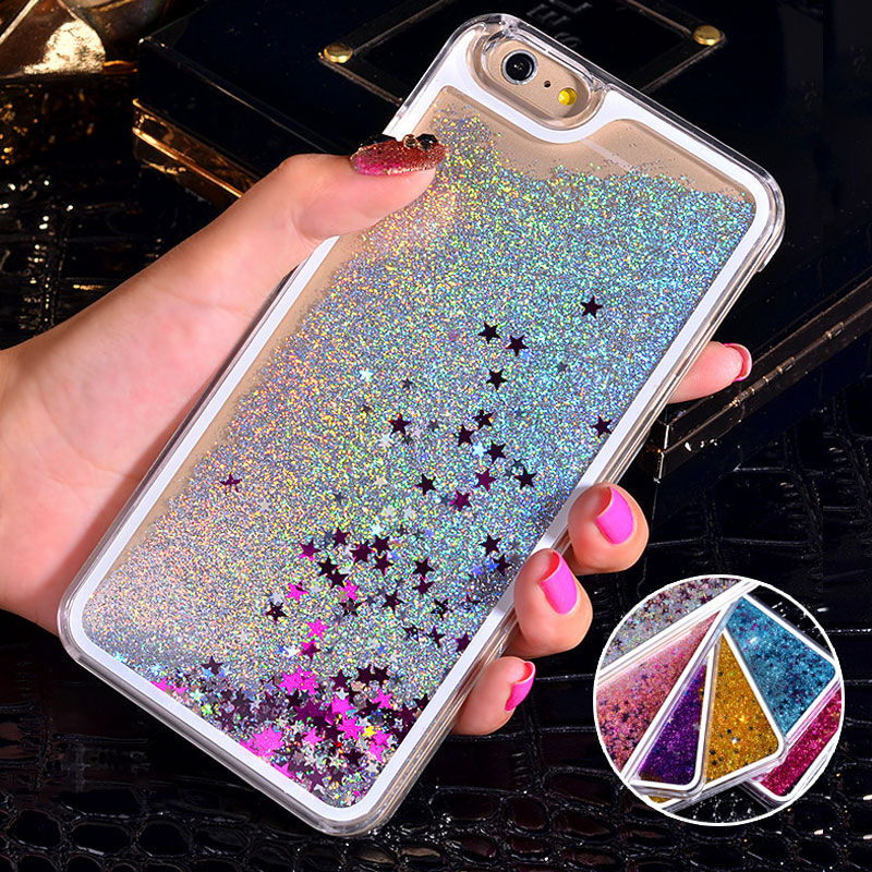 NEW Luxury Glitter Liquid Sand Quicksand Star Case for iphone 4 4S 5 5S SE 6 6S 7 Plus Transparent Clear Hard Cover