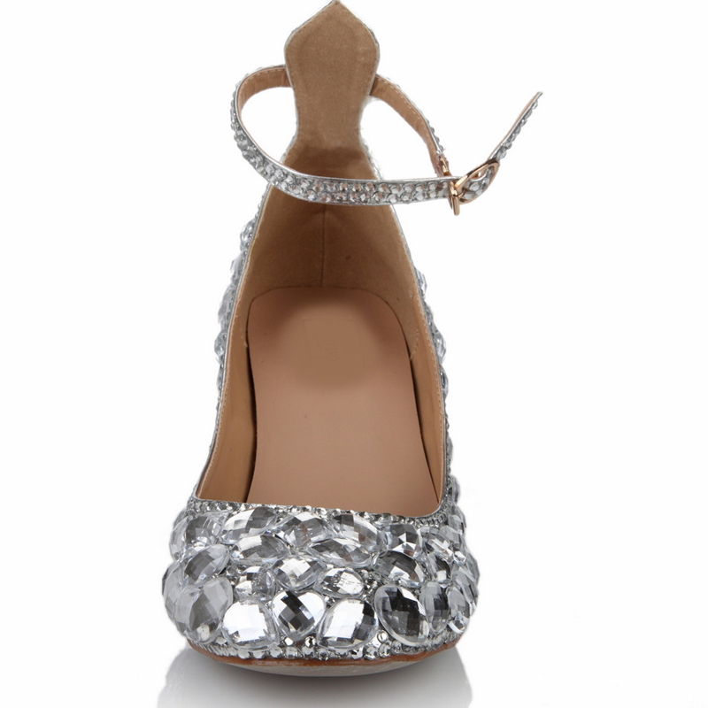d7dea2d6a89 Aliexpress.com   Buy 2018 Silver Chunky Heel Closed Toe Prom Party Shoes  Rhinestone Wedding Shoes Genuine Leather Ankle Straps Handmade Bridal Shoes  from ...